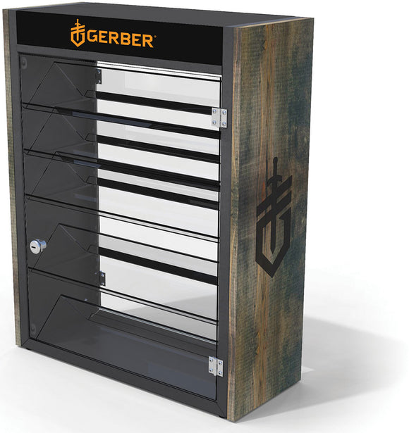 Gerber Knife Wood Steel Lockable Counter Display