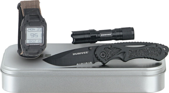 Humvee Recon Mission Ready 3 piece Knife & Flashlight Gift Set rcnrm1