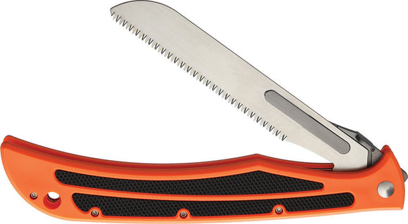 Havalon Baracuta Blaze Orange Folding Pocket Knife w/ 2 Saw Blade/Sheath 11523