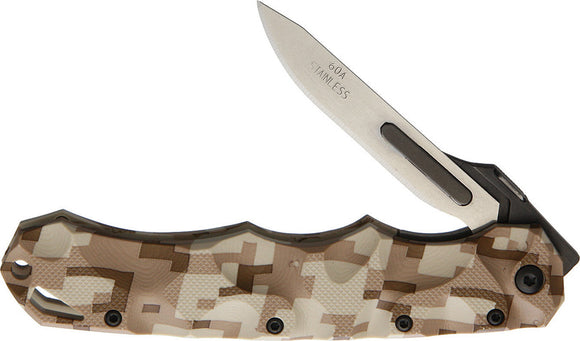 Havalon Piranta Stag Desert Camo Folding Pocket Knife 70229