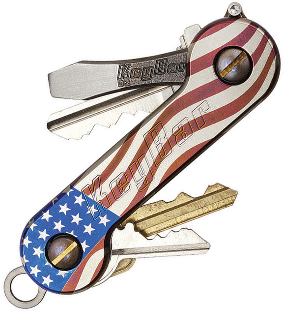 KeyBar American Flag Titanium Car Garage & House Key Holder Made in USA 218