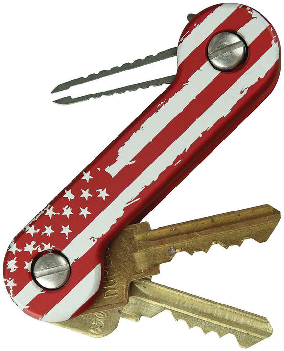 KeyBar Red Anodized Aluminum USA American Flag Car & House Key Holder 230