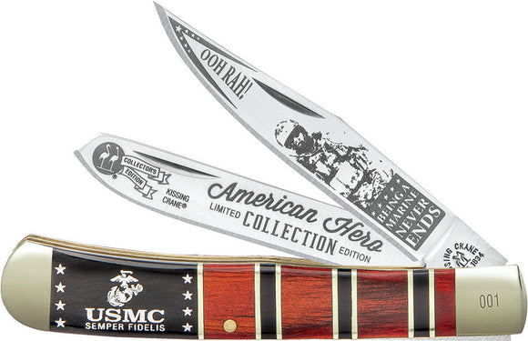 Kissing Crane USMC Trapper 2019 Black/Brown Pakkawood Folding Pocket Knife 5550