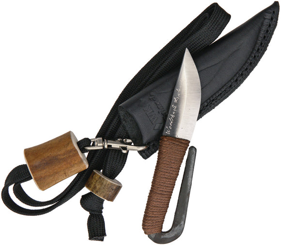 Kellam Brown Sisal Wrapped Carbon Steel Fixed Blade Neck Knife w/ Sheath HM39