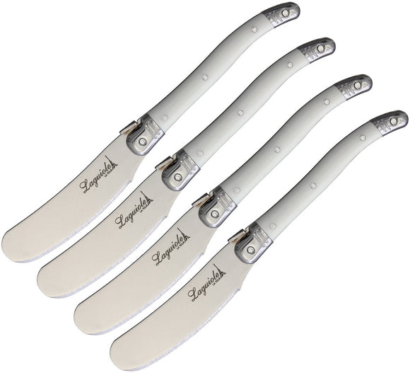 Laguiole LA TOUR Flying Colors Butter Knives Spreaders White 4pc Set BKLW