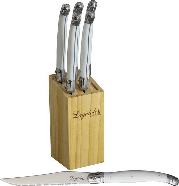 Laguiole LA TOUR 6pc Luxury White Kitchen Steak Knives Set w/ Storage Block KLW
