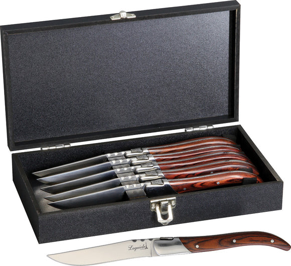 Laguiole LA TOUR 6pc Ultra Premium Kitchen Steak Knife Set w/ Case KUPWD