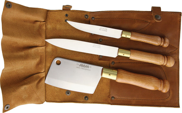MAM 4pc Cleaver Paring Utility Fixed Knife Set w/ Leather Knife Roll 3008