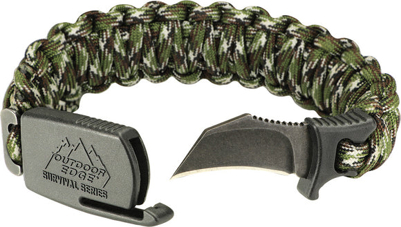 Outdoor Edge Paraclaw Camo Large Stainless Knife Paracord Survival Bracelet Tool PCC90D