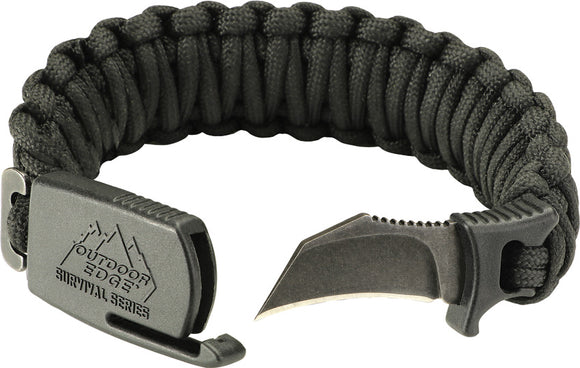 Outdoor Edge Paraclaw Black Medium Stainless Knife Paracord Survival Bracelet Tool PCK80D