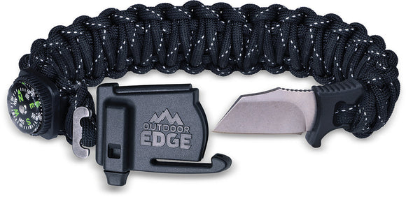 Outdoor Edge ParaSpark Medium Black Paracord Survival Knife Bracelet SK80C