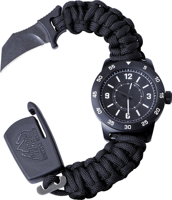 Outdoor Edge Paraclaw CQD Watch Large Stainless Knife Survival Black Paracord Bracelet Tool PW90Z