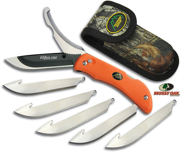 Outdoor Edge Razor Pro Orange Stainless Folding Knife w/ Sheath RO20