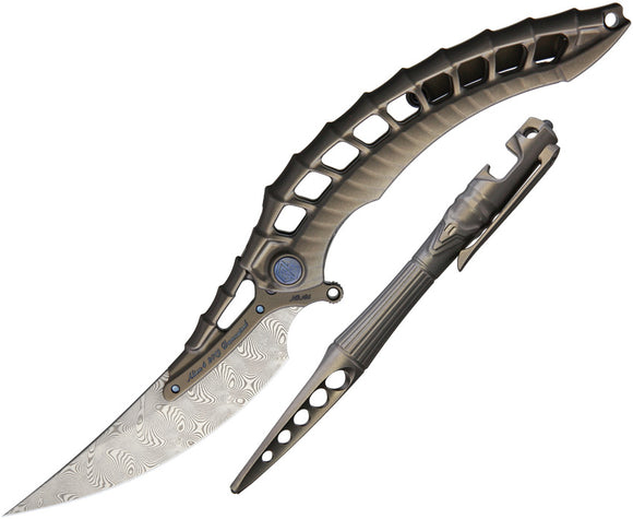 Rike Knife Alien 4 Framelock Folding Knife & Pen Combo aliendg