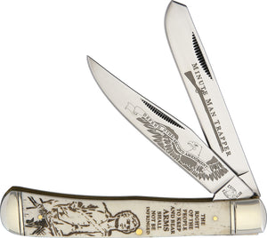 Rough Rider Minute Man Trapper Folding Blade Second Amendment Bone Knife 1447