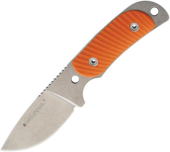 Real Steel Hunter 165 Orange G10 12C27 Stainless Fixed Blade Neck Knife  3532