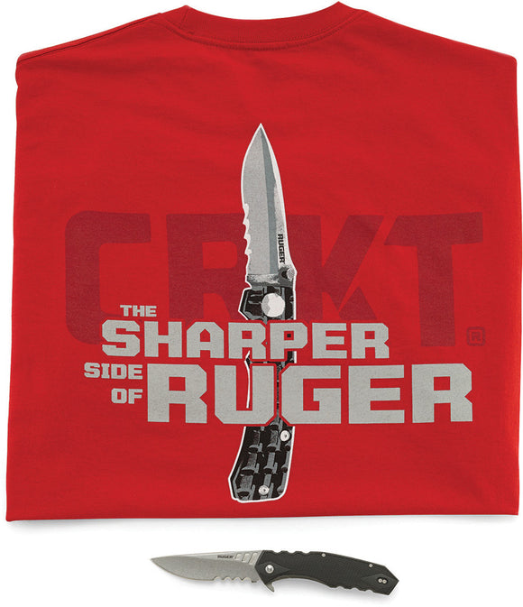 CRKT Ruger Follow Through Serrated Blade Folding Pocket Knife + Shirt 1702CTS