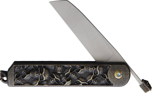 2 Saints El Napo Skull Bronze Folding Stainless Sheepsfoot Pocket Knife 1062SF
