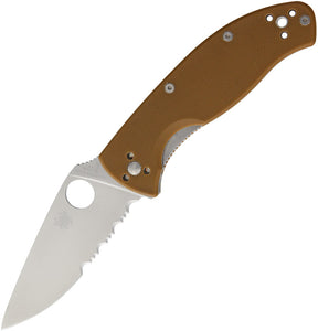 Spyderco Tenacious Folding Knife Serrated Satin Brown G10 Reversible - 122GPSBN