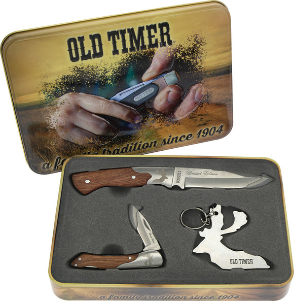 Schrade Old Timer 3 piece Wood Handle Knife Gift Set 1105608