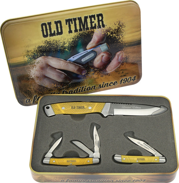 Schrade Old Timer 3 piece Yellow Knife Gift Set  1105609