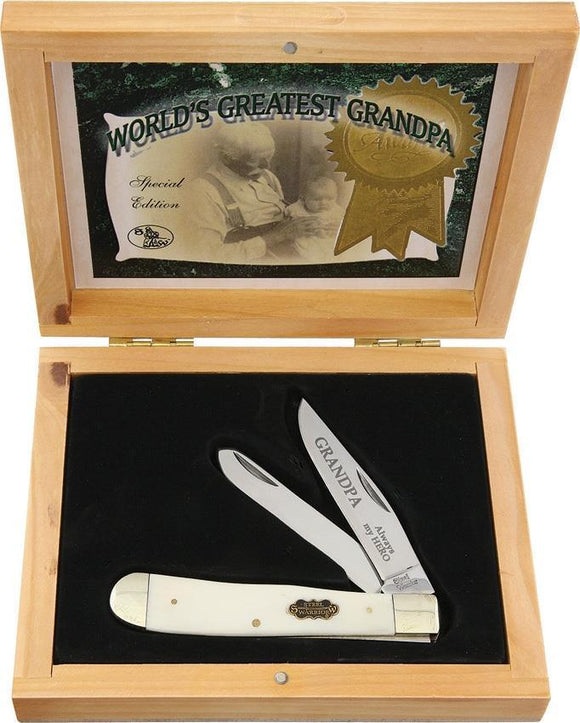 Frost World's Greatest Grandpa Trapper White Bone Knife w/ Gift Box
