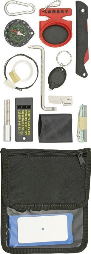 TOPS Survival Neck Wallet Tools Kit Whistle Saw Compass Firestarter Gear SNW01