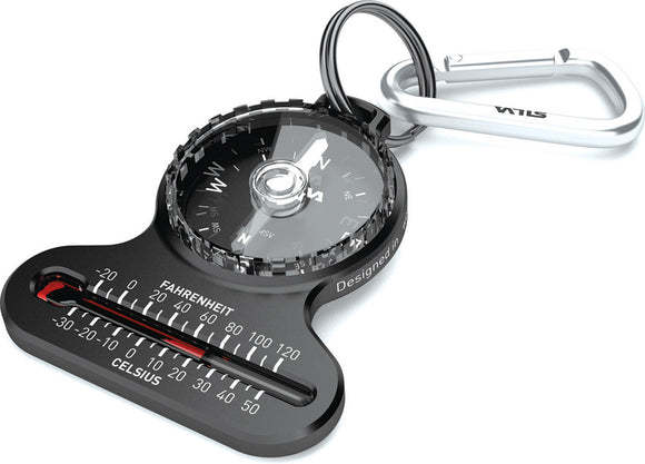 Silva Black Keychain Pocket Compass w/ Thermometer 544936