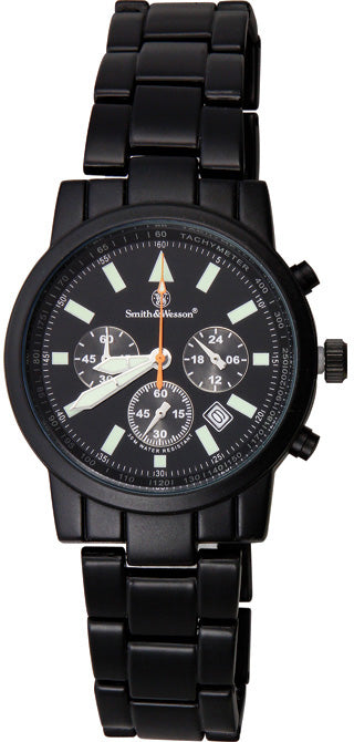 Smith & Wesson Black Mens Pilot Water Resistant Chronograph W169