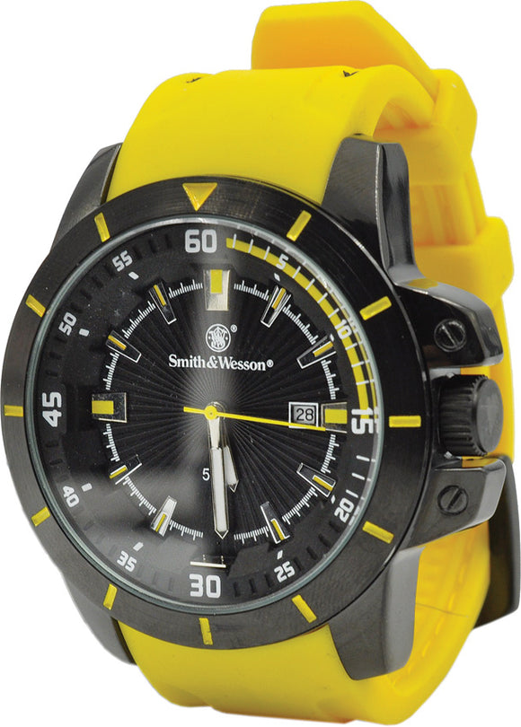 Smith & Wesson Yellow Trooper Watch Stainless Case Back W397YW