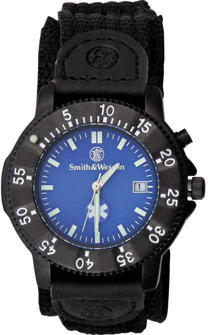 Smith & Wesson Black/Blue Mens EMT Water Resistant Watch W455EMT