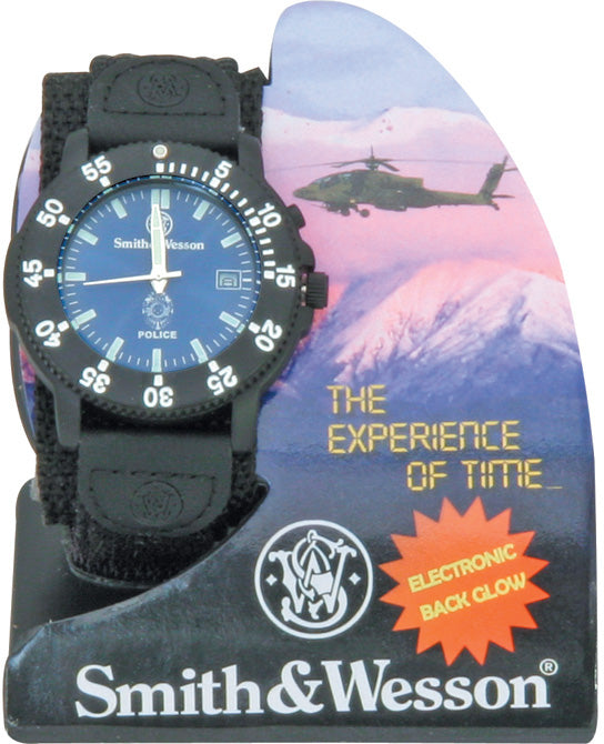 Smith & Wesson Black & Blue Police Water Resistant Luminous Watch W455P
