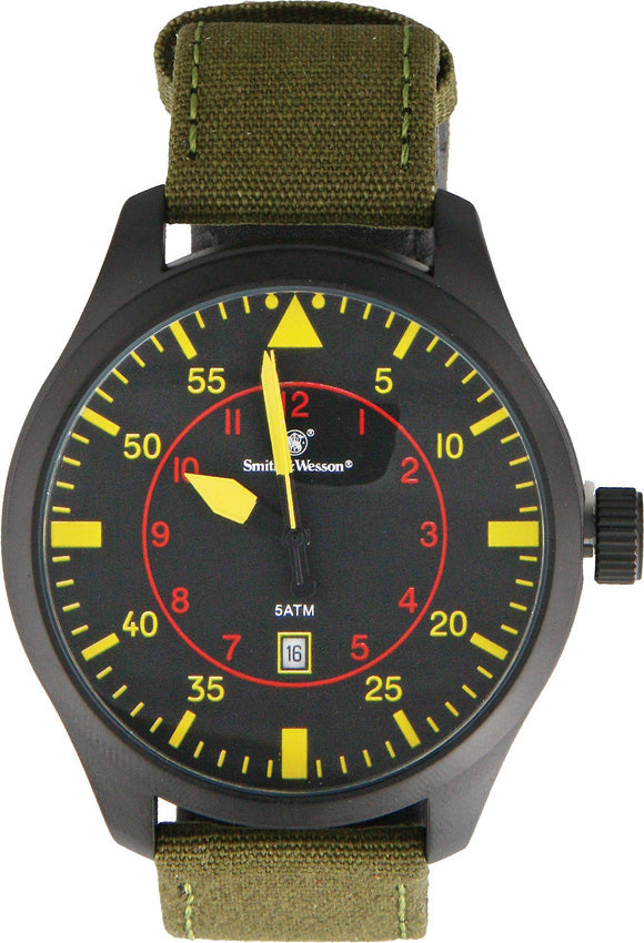Smith & Wesson Olive/Yellow Water Resistant NATO Watch W515BK