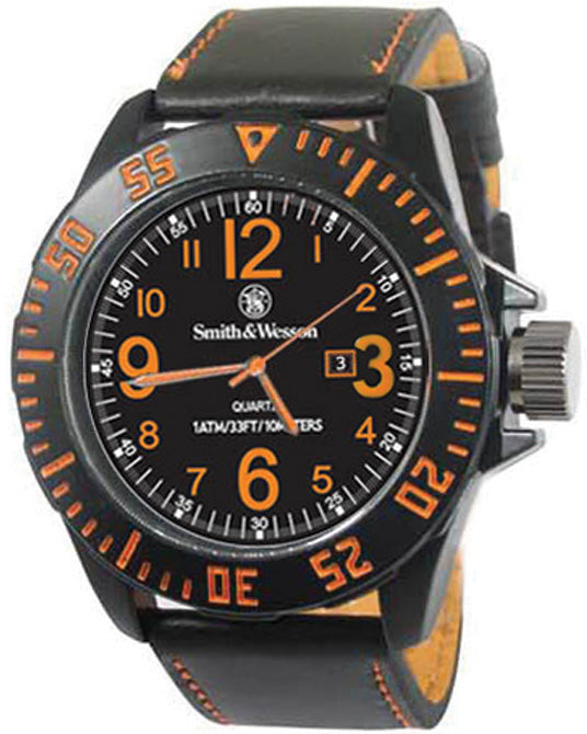 Smith & Wesson Black/Orange Mens Ego Water Resistant Watch W6058