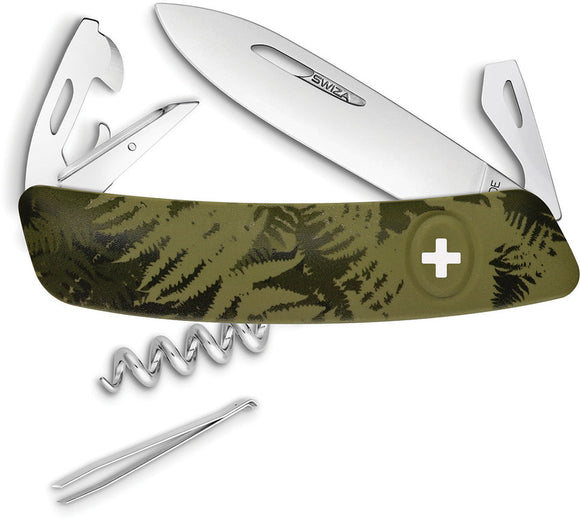 Swiza C03 Button Lock Knife Corkscrew Tweezers Green Camo Multi-Tool 302050