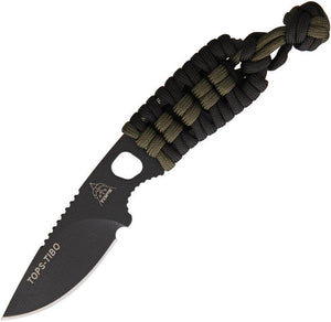 TOPS Tibo Fixed One Piece Blade Black Green Paracord Handle Neck Knife