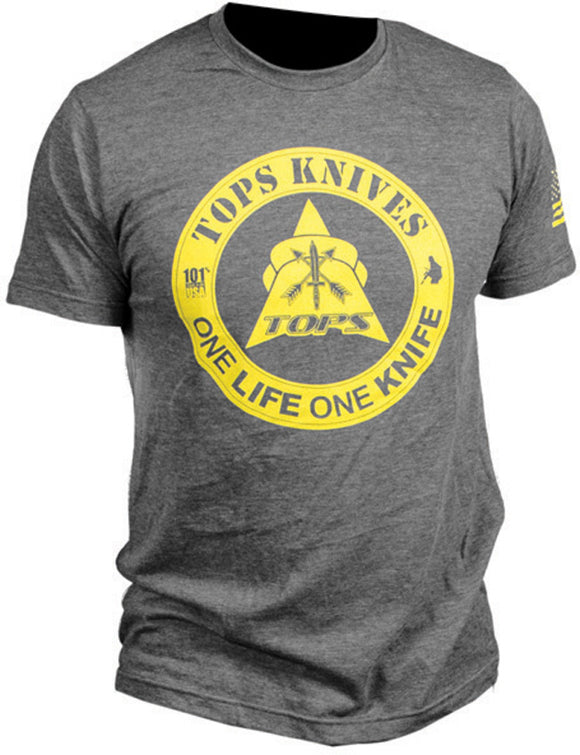 TOPS Knives Gray/Yellow One Life One Knife Large Short Sleeve T-Shirt TS1LCHALG