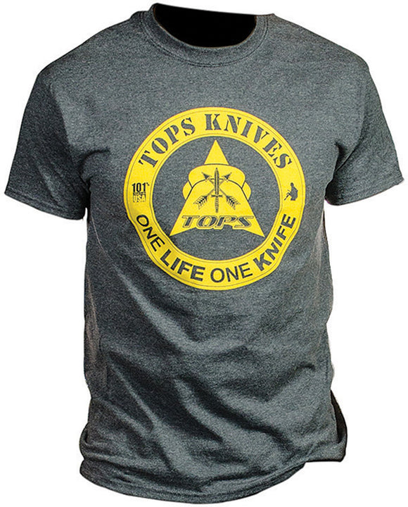 TOPS Knives Gray/Yellow One Knife One Life XXL Short Sleeve T-Shirt TS1LDHXXL
