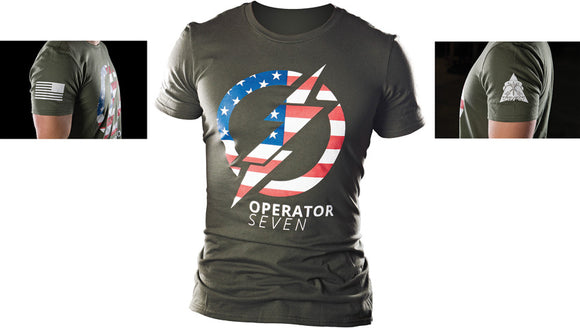 TOPS Knives Operator 7 American Flag OD Green Short Sleeve Large T-Shirt TSOP7L