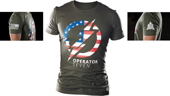 TOPS Knives Operator 7 American Flag OD Green Short Sleeve Medium T-Shirt TSOP7M