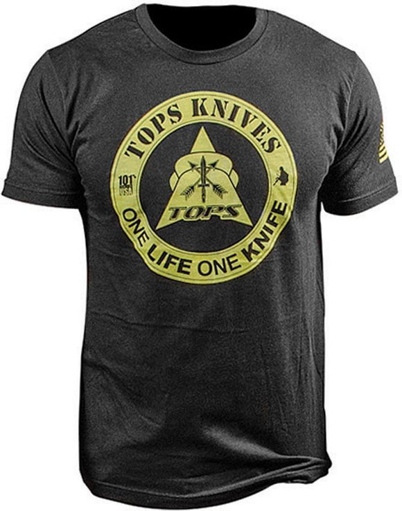 TOPS Knives One Life One Knife Logo Black Cotton Men's T-Shirt