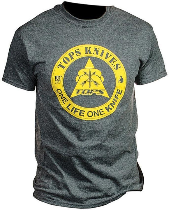 TOPS Knives Dark Heather Gray & Yellow One Life One Knife Large T-Shirt