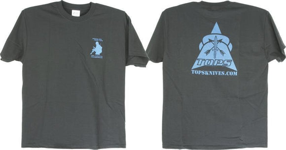 TOPS Knives Artwork Blue & Black 100% Pre-Shrunk Large Cotton T-Shirt