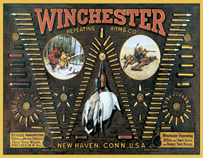 Winchester Bullet Board Repeating Arms Company Hunting Man Cave Metal Tin Sign 0942