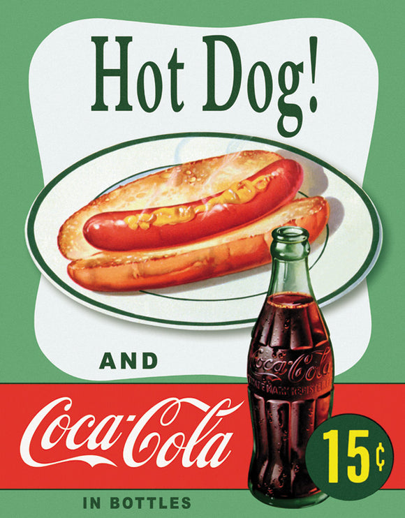 Tin Signs Hot Dog and Coke Nostalgic Advertisement Metal Sign 1048