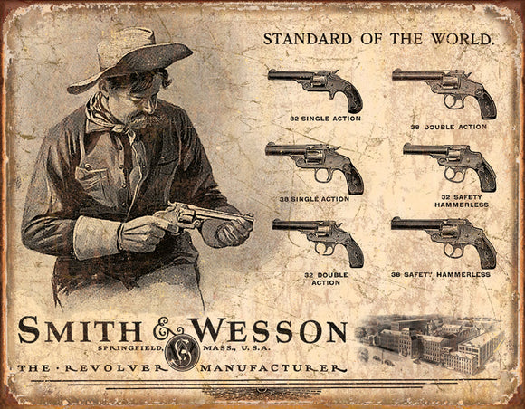 Smith & Wesson Revolver Guns Manufacturer Man Cave Collectible Metal Tin Sign 1743