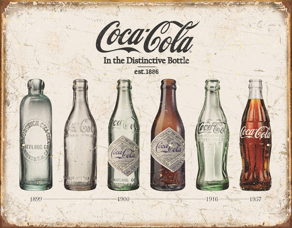 Coca-Cola Coke Bottle Evolution Memorabilia Man Cave Metal Tin Sign 1839