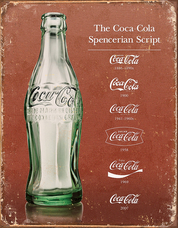 Coca-Cola Coke Script Heritage Weathered Vintage Metal Tin Sign 1952