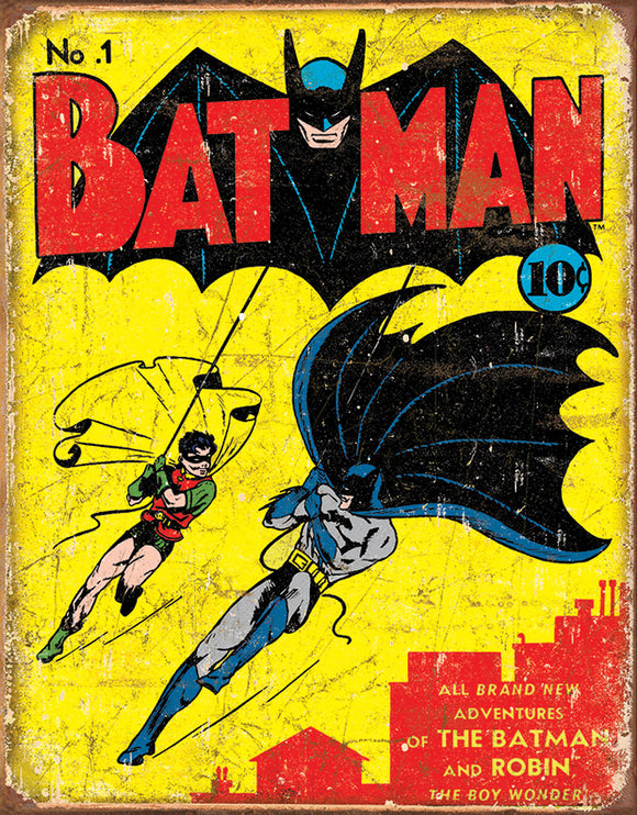 New Batman & Robin No. 1 Issue Comic Cover Collectible Nostalgic Tin Sign 1966