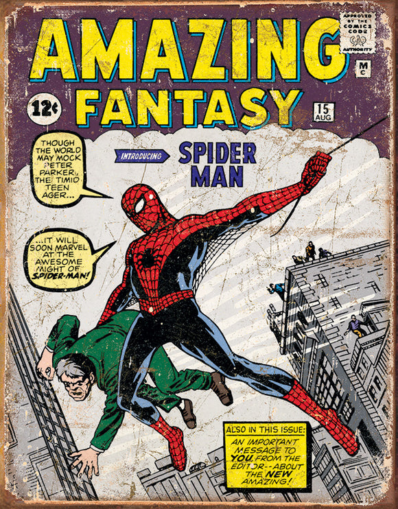 Tin Signs Amazing Fantasy Spiderman Comic Book Cover Vintage Metal Sign 1971